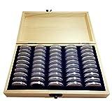 Soporte de cápsulas de monedas, caja universal para contenedor de monedas con almohadilla ajustable y caja de almacenamiento de madera, pantalla conmemorativa para 18/21/25/27/30mm
