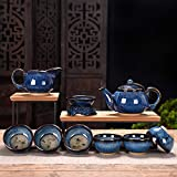 Caja de regalo de alta gama Tianmu glaze cepillado Juego de té de porcelana Jun de 10 cabezas Juego de reunión anual del hogar Regalo de regalo Logotipo impreso-Set de botes de belleza (azul jun)