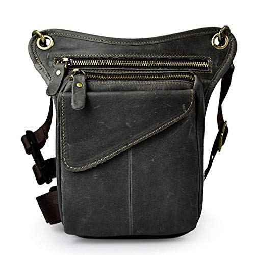 Hebetag Leather Waist Pack Drop Leg Bag for Men Women Motorcycle Bike Outdoor Sports Tactical Cycling Riding Hiking Camping Multi-Purpose Belt Bumbag Sling Shoulder Pack Pouch