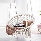 ASTEROUTDOOR Macrame Hammock Chair Hanging Cotton Rope Swing for Indoor or Outdoor Use, Beige