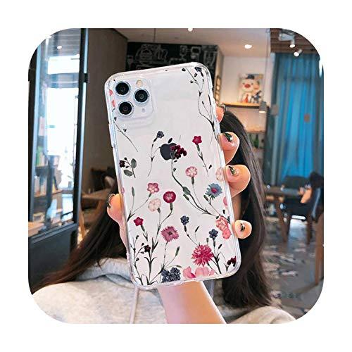 Linda flor creativa teléfono caso transparente para iPhone 6 7 8 11 12 s mini pro x XS XR MAX Plus funda shell-a3-iphone 12 pro