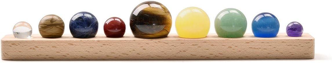 PESOENTH Nine Planets Solar System Galaxy Universe Model Healing Crystals Chakra Stones Balls Gemstones Sphere with Wooden...