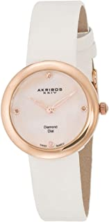 Akribos XXIV Women's Mother of Pearl Diamond Dial Leather Band Watch
