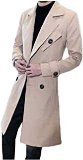 MogogoMen Casual Double-Breasted Mordern-Fit Mid-Long Trench Coat Jacket