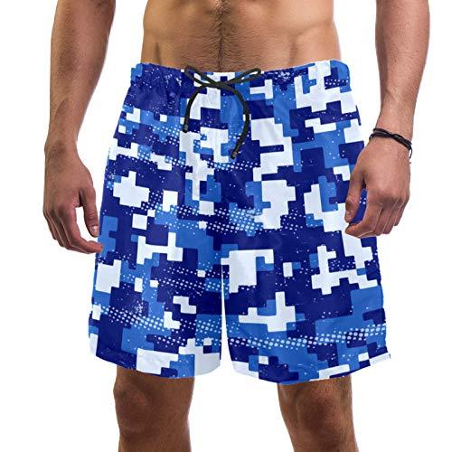 AITAI Pantalones cortos de playa para hombre Camo azul militar de secado rápido Deportes traje de baño traje de baño