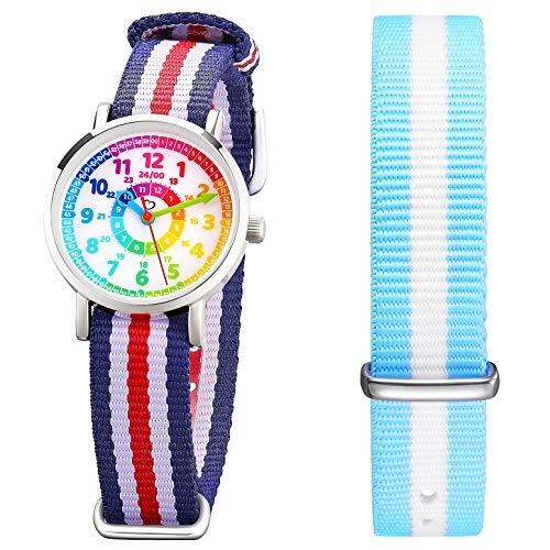 Kinder Armbanduhr Jungen und Mädchen - süße Quarzuhr mit modischem Nylon Armband und Lern-Ziffernblatt - Lernuhr analog, Uhrzeit Lernen (blau)
