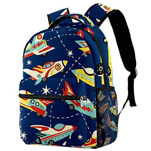 Mochila de dibujos animados para el espacio de los coches marinos, con fondo de la escuela, mochila de viaje, casual, para mujeres, adolescentes, niñas y niños