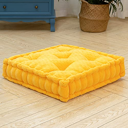 HIGOGOGO Floor Cushion Pouf, Square Floor Pillow Seating Chenille Meditation Cushion, Thick Tufted Pillows for Living Room Yoga Bedroom Sofa, Yellow, 20'x20'x5.5'