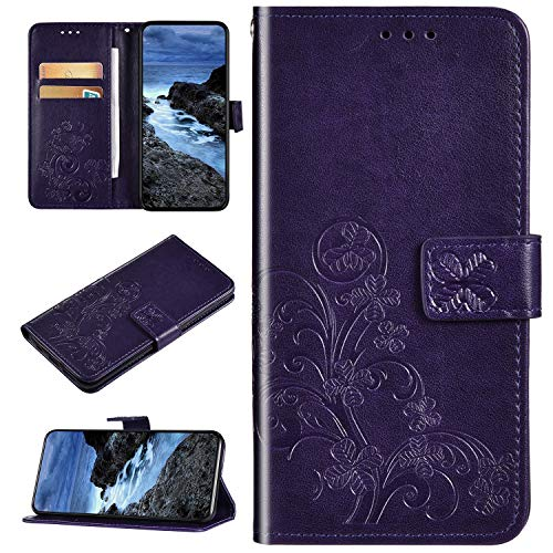 Coque Compatible avec Huawei P Smart Plus 2019 Portefeuille Cuir Gaufré Trèfle Motif Étui Pochette PU Flip Protection Housse Clapet Case Emplacements Cartes Fonction Support Antichoc Cover,Violet