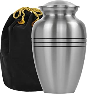 Grace and Mercy Pewter Large Urn for Human Ashes - A Beautiful and Humble Urn for Your Loved Ones Remains. This Lovely Sim...