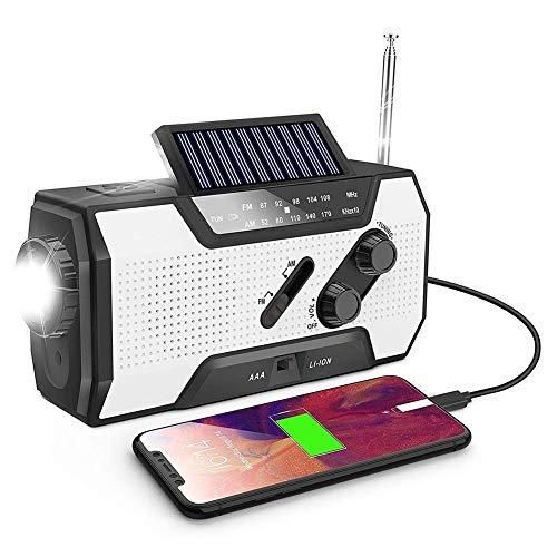 BAYUE Radio à manivelle d'urgence, Radio météo Portable AM/FM/NOAA à manivelle Solaire avec Lampe de Poche 1W, Alarme SOS pour la Maison et l'urgence