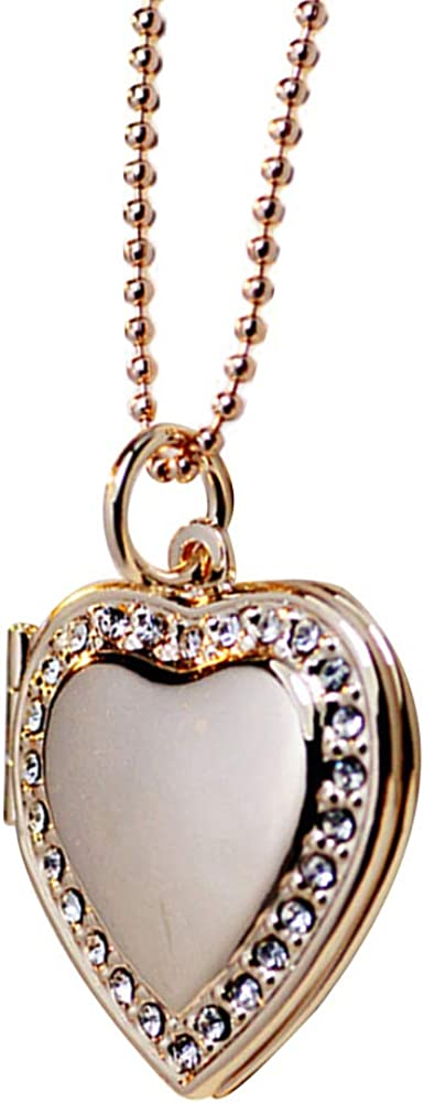 MileHouse Pendant Necklace for Women, Rhinestone Heart Photo Frame Locket Necklace Clavicle Chain Gift - Rose Gold + White
