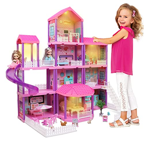 Doll House, Dollhouse w/ Furniture and Accessories - Pink / Purple...
