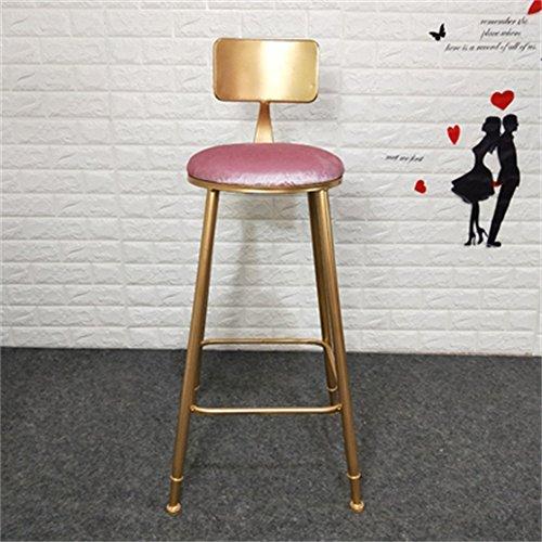 ZHyizi Hoge krukken, Bar stoelen, Ergonomie Iron Art Tuinstoelen Huishoudelijke Meubels Luxe Comfortabele Goud Frame met Rugleuning