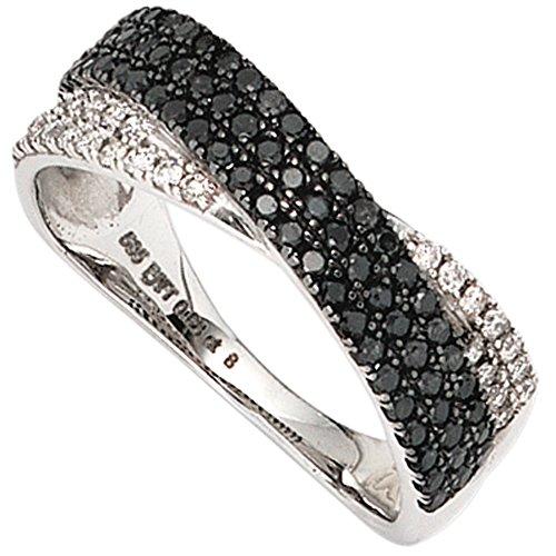 JOBO Damen-Ring aus 585 Weißgold mit 100 Diamanten schwarz und weiß Größe 54