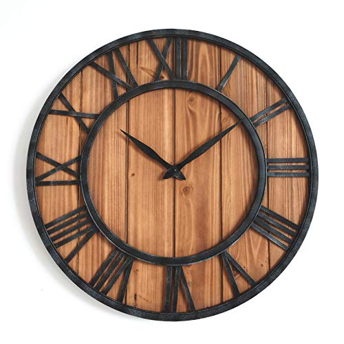 ZWYY Large Wooden Wall Clock, 3D Roman Numberals Noiseless Silent Decor Clock Modern Design Decoration for Home Clocks on The Wall