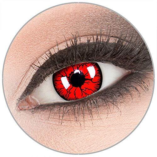 Farbige 'Metatron' Kontaktlinsen von 'Evil Lens' zu Fasching Karneval Halloween 1 Paar Rot Crazy Fun mit Behälter in Topqualität ohne Stärke