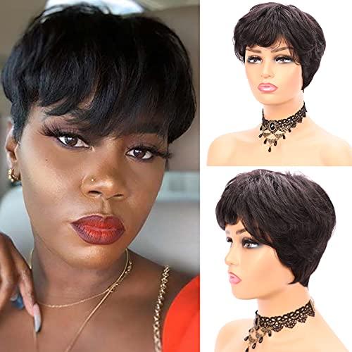 Short Human Hair Wigs for Black Women Short Pixie Cut Wigs for Black Slight Wavy Brazilian Virgin Human Hair Wigs Layered Cut Wigs for Black Women