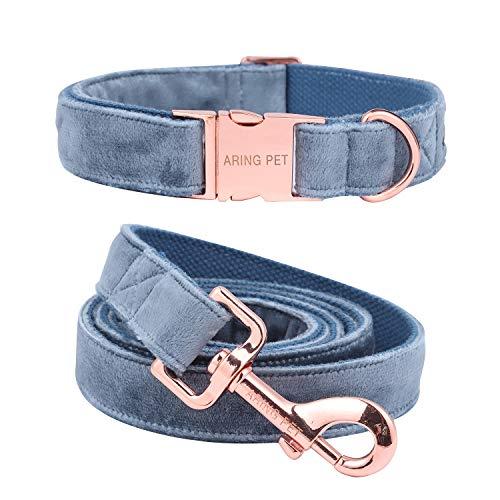 Aring Pet Hundehalsband und Leine, Samt, weich und bequem, verstellbare Halsbänder für Hunde, M, blau