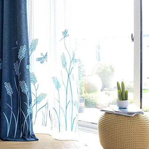 Melodieux Wheat Embroidery Sheer Curtain for Living Room Patio Sliding Door Wide Window Rod Pocket Voile Drape, White/Blue, 100 by 84 Inch (1 Panel)