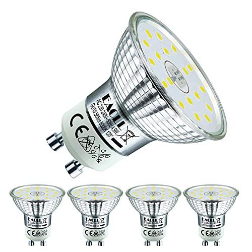 EACLL Bombillas LED GU10 6000K Blanco Frio 4.9W Fuente de Luz 585 Lúmenes Equivalente 50W Halógena. AC 230V Sin Parpadeo Focos, 120 ° Spotlight, Luz Diurna Blanca Fría Lámpara Reflectoras, 4 Pack