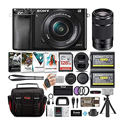 Sony Alpha a6000 Mirrorless Camera w/ 16-50mm & 55-210mm Lenses & 128GB Bundle by Sony
