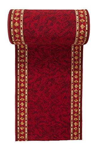 WE LOVE RUGS CARPETO Läufer Teppich Flur - Modern Muster - Rückseite aus Gummi Anti-Rutsch - Kurzfloor Teppichläufer nach Maß - Gel-MAX Kollektion Weinrot 80 x 400 cm