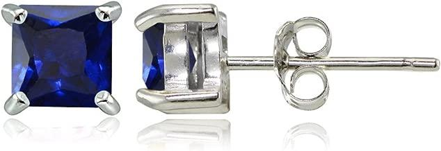 Sterling Silver Genuine, Created or Simulated Birthstone Gemstone 4mm Square Stud Earrings