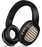 Bluetooth Headphones, Riwbox WB5 Bluetooth 5.0 Wireless Foldable Headphones Over Ear with Microphone, 5 EQ Sound Modes, Soft Memory-Protein Earmuffs, Wireless and Wired Headset for PC (Black Gold)