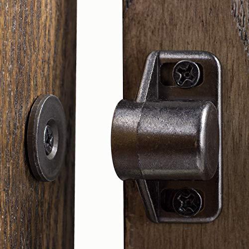 JJY 4 Pack Magnetic Cabinet Door Catch with Magnets for Cabinet Door Latch Closer, Cabinet Magnetic Catch for Kitchen Closet Door Closing Magnetic Door Catch Closer, Black Tone Gun Metal