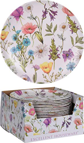 Platos de melamina, ideal para el jardín. Vajilla de melamina para 12 personas. Set de 12 platos. Apto para exterior, vajilla para picnic o camping ✅