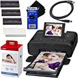 Canon SELPHY CP1300 Wireless Compact Photo Printer (Black) + Canon KP-108IN Color Ink Paper Set (Produces up to 108 of 4 x 6 Prints) + USB Printer Cable + HeroFiber Ultra Gentle Cleaning Cloth