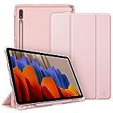 Fintie Funda para Samsung Galaxy Tab S7 11' 2020 con Soporte para S Pen - Trasera Transparente Mate Carcasa Ligera con Función de Auto-Reposo/Activación para Modelo de SM-T870/T875, Oro Rosa