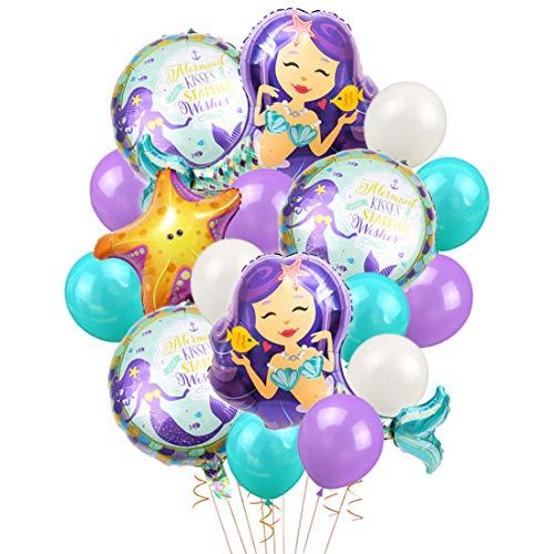 LUCK COLLECTION Globos de Sirena Fuentes de Fiesta de cumpleaños Mermaid Mylar Globos para Sirena bajo el mar Fiesta de cumpleaños Baby Shower Decoraciones