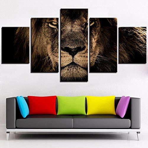 DGGDVP Images modulaires 5 Panneaux Roi Lion Animal Toile Peinture Mur Art Photo Décoration de La Maison pour Le Salon Impression Peintures Taille 2 avec Cadre