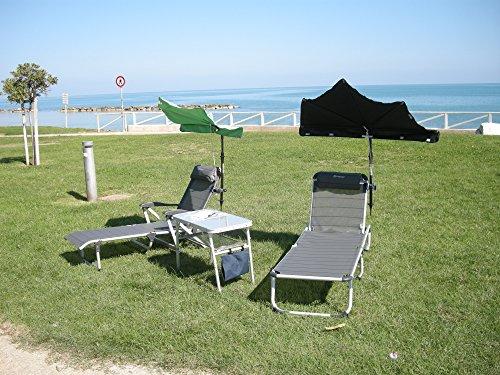 NEW - zonnescherm - tuin - SET HOLLY - parasol donker blauw + driepig ligbed zonder armleuningen met afneembare hoofdkussen + kleur: titanium - aluminium - outdoor - camping - vrije tijd ligbed - in 5 positie verstelbaar - STABIELO veredeld UMINIUM buis: belasting ca. 125 kilo - Uitvoering exclusief - distributie - holly mobiele zonnebrand-mobiele sunshade holly ® - IT: holly waaierscherm video -