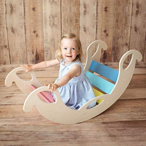 """Kinder Wippschaukel """"Jumbo Rainbow"""" aus Holz – handgefertigt, ideal zum Balancieren, fördert Motorik und Körpergefühl, für Buben und Mädchen ab 12 Monaten"""
