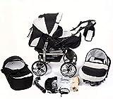 Système de voyage 3 en 1 avec landau, siège auto, poussette et accessoires bébé Noir et blanc
