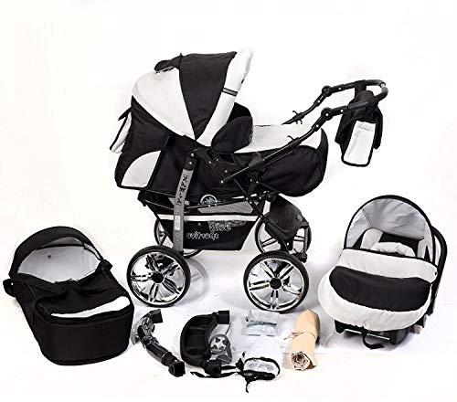 Sistema de viaje para bebé 3en 1, cochecito, asiento de coche, sillita de paseo y accesorios, negro y blanco