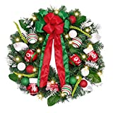 Valery Madelyn Pre-Lit 30 Inch Classic Collection Splendor Christmas Wreath for Front Door with Artificial...