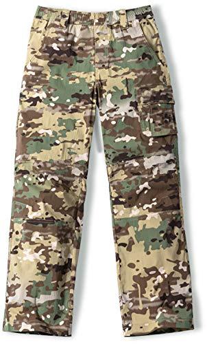 CQR Kids Youth Hiking Cargo Pants, Outdoor Camping Pants, UPF 50+ Quick Dry Regular Pants, Regular Driflex Utility Camo, 12