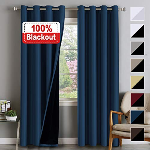 Double Layer 100% Blackout Curtains for Bedroom 84 Inches Long Thermal Insulated Lined Curtains for Living Room | Full Light Blocking Energy Saving Grommet Drapes Draperies, 2 Panels, Navy Blue