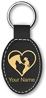 Oval Keychain, Horse Cowgirl Heart, Personalized Engraving Included (Black)