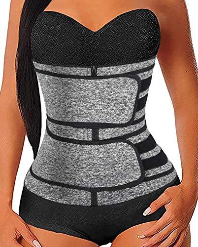 ATEMA Waist Trainer for Women Neoprene Sweat Corset Trimmer Belt Workout Belly Band Sweat Girdle Waist Cincher Body Shaper Grey Large