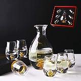 ZHIRCEKE Set de Sake, Conjunto de vinos de Cristal, Gafas de Sake japonés con 1 Botella de Jaula de Sake y 6 Copas de Saki, para Vino japonés y cálido, Set de Regalos de cumpleaños.