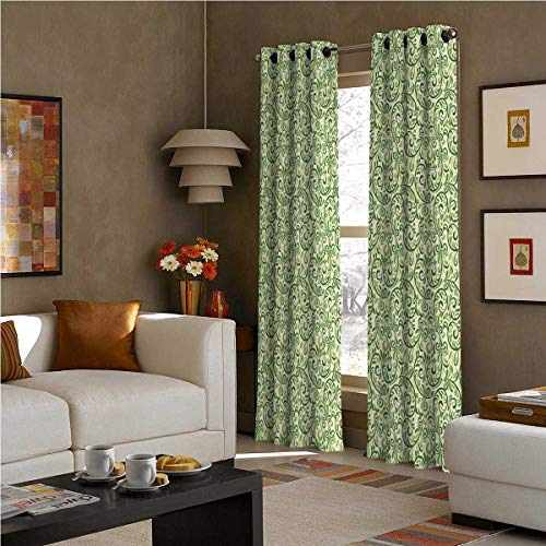 SOSO-LALEO Green Blackout Curtains - Gasket Insulation Swirled Curly Abstract Leaves with Damask Influences Ornate Vintage W84 x L108 Inch Fern Green Pale Green Cream