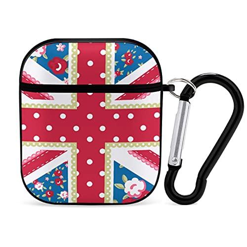 Bonita Funda de Estilo Floral con Bandera británica en Shabby Chic para Apple AirPods 2 & 1 Funda Protectora para Auriculares Bluetooth a Prueba de Golpes con Llavero con mosquetón