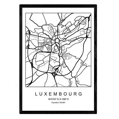 Stadskaart Luxemburg-Scandinavische stijl in zwart-wit afdrukken. Posterframe op A3-formaat Het bedrukte papier Geen 250 gr. Schilderijen, prints en posters voor woonkamer en slaapkamer