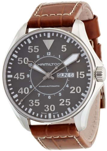 Hamilton Men's H64715885 Khaki Pilot Automatic Stainless Steel Watch with Brown Croco-Embossed Watch