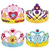 Tixiyu 4 Stück DIY Kronenhut Prinzessin Kopfbedeckung Lustige Kinder Handarbeit Spielzeug Geburtstag Party Handwerk Geschenke 12 x 10 cm